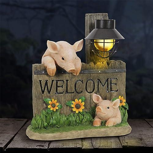 Exhart Pig Statue Pig Welcome Sign w/Solar Decorative Lantern Interior Light