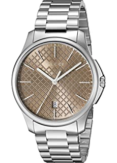 Gucci G-Timeless Analog Display Swiss Quartz Silver-Tone Unisex Watch(Model:
