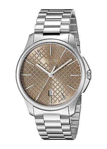 Gucci YA126317 - Reloj para hombre, con correa de acero inoxidable, de color marrón: Gucci: Amazon.es: Relojes