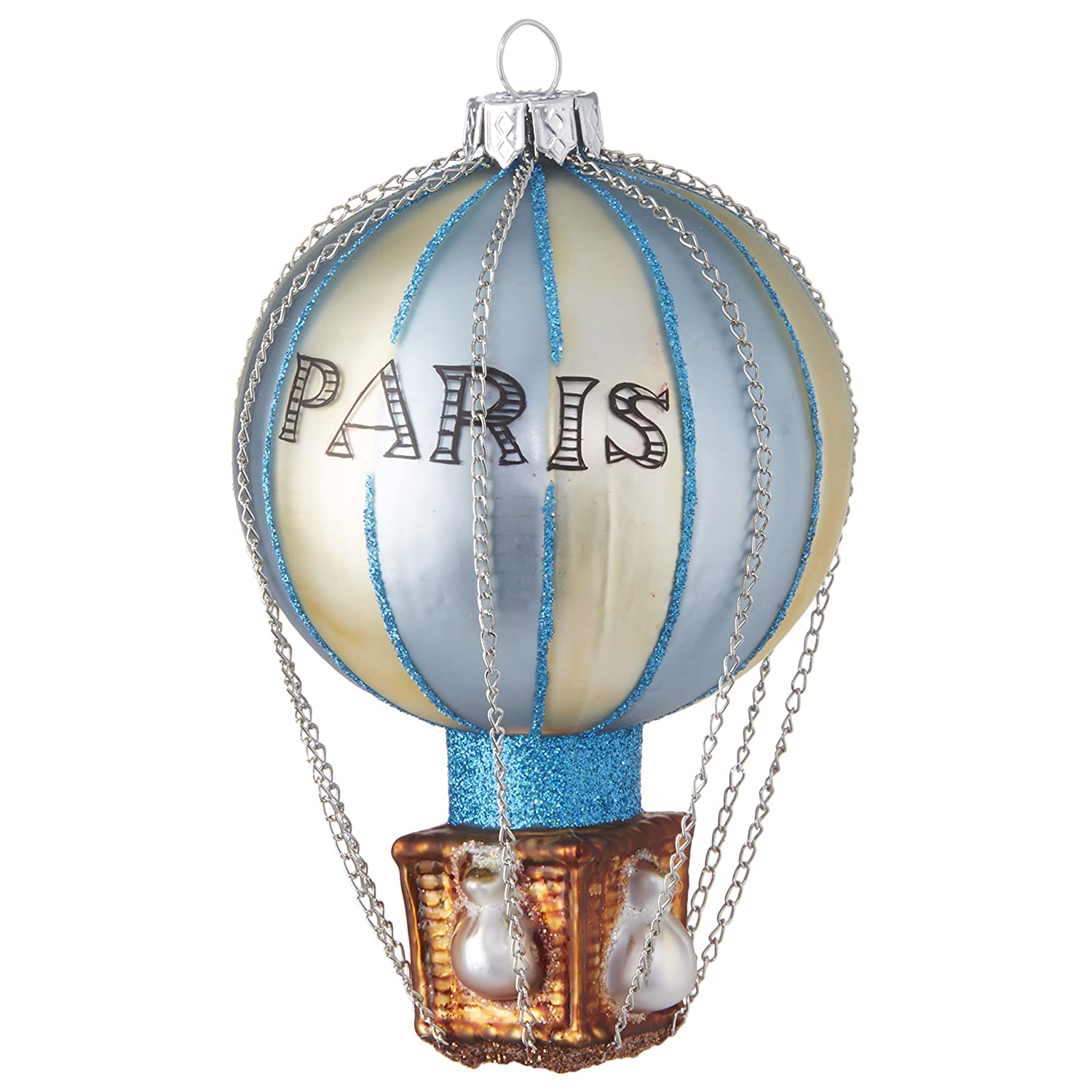 RAZ Imports Blue Paris Hot Air Balloon Glass Ornament, 4