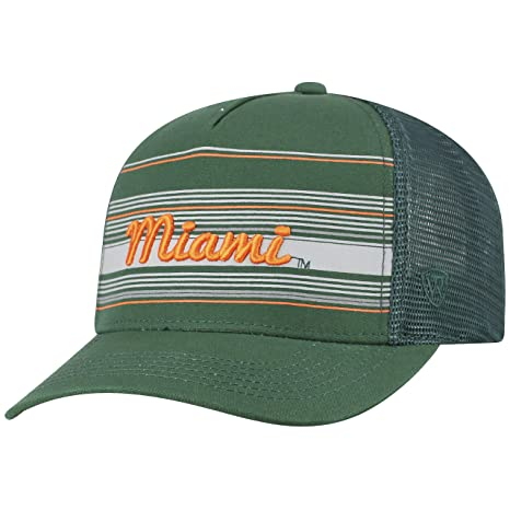 more photos eef17 5091e Image Unavailable. Image not available for. Color  Top of the World Miami  Hurricanes Official NCAA Adjustable 2Iron Trucker Mesh Hat ...