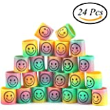 CCINEE 24pc Mini Smiley Face Springs Smile Rainbow Springs For Party Bags Fillers