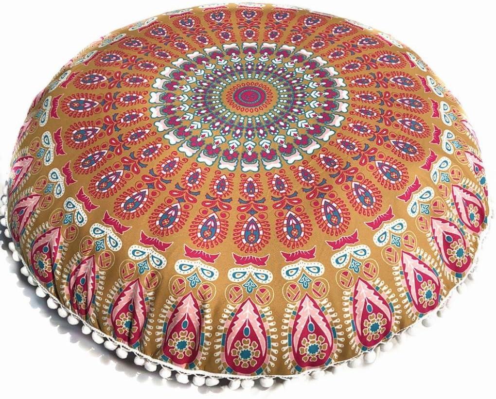 Multicolor Mandala Floor Pillows Round Bohemian Meditation Cushion Cover Ottoman Pouf King Size B One Size Kitchen Dining Amazon Com