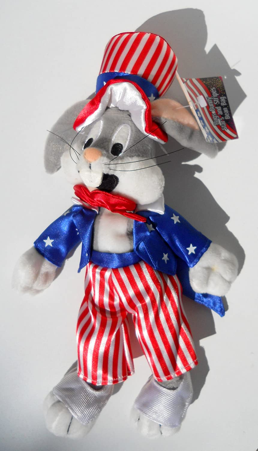 Bugs Bunny Uncle Sam bean bag plush Looney Tunes Warner Store new with tags