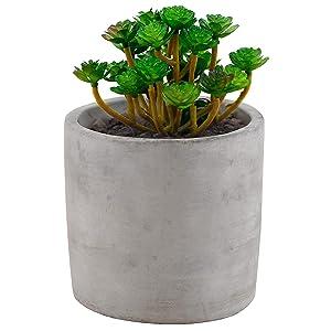 Miniature 4-Inch Round Flower Plant Clay Planter Pot, Gray