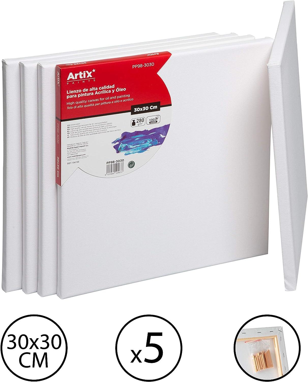 Pack 5 Lienzos Pre-estirados Lienzos para Pintar 30x30cm Lienzo Blanco Algodon 100% para Pintura Acrilica, Oleo y Técnica Mixta | Artix PRO
