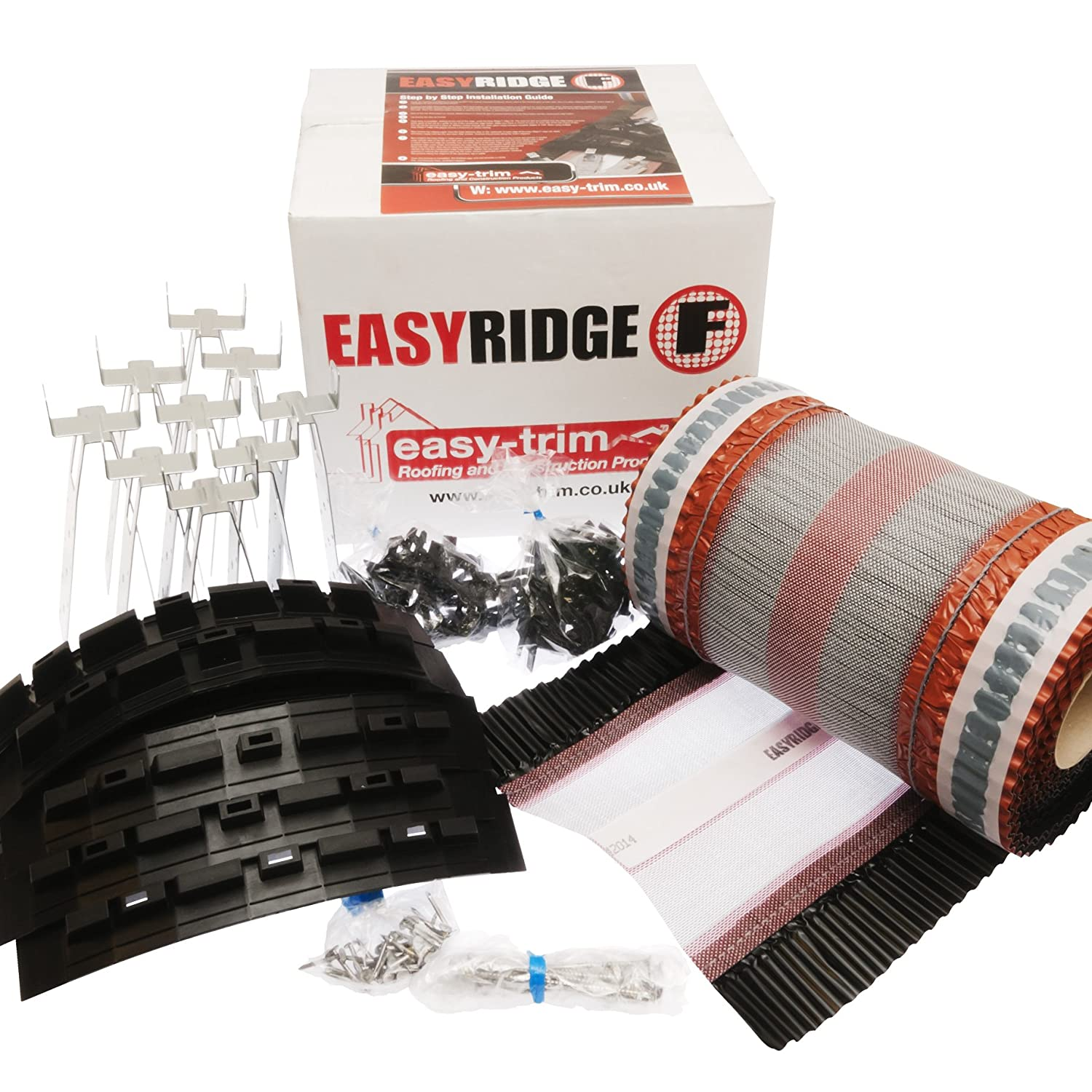 Black Easy Ridge Universal 6 Metre 'Dry Fix' Kit Mortar Free Ridge Tile Fitting System (Available in 2 Colours - Terracotta or Black) Easy-Trim
