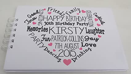 Personalised Birthday Party Guest Book Typography Memory Book 21st 18th  50th Any Age Free Delivery In UK