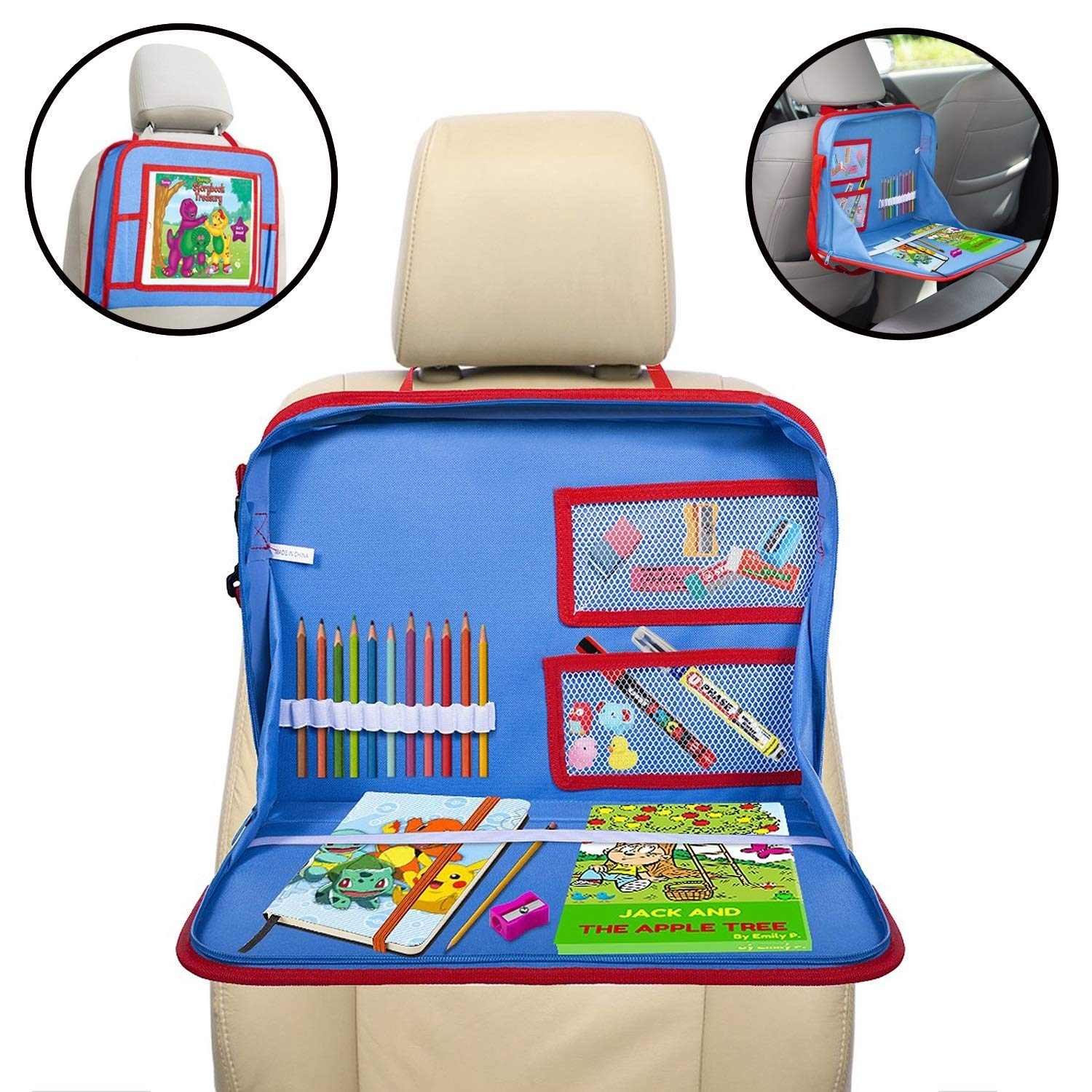 lebogner Kids Car Seat Activity Tray, Backseat iPad Or Tablet Holder, Carry Bag with Storage Organizer Mesh Pockets and Shoulder Strap, On The Go Travel Lap Desk to Play, Eat, Or A Writing Surface by lebogner