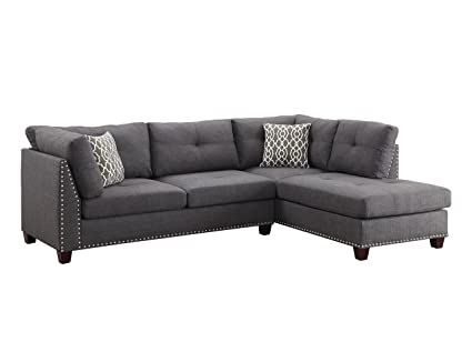 Acme Furniture 54385 Laurissa Ottoman, Light Charcoal Linen Sectional Sofa