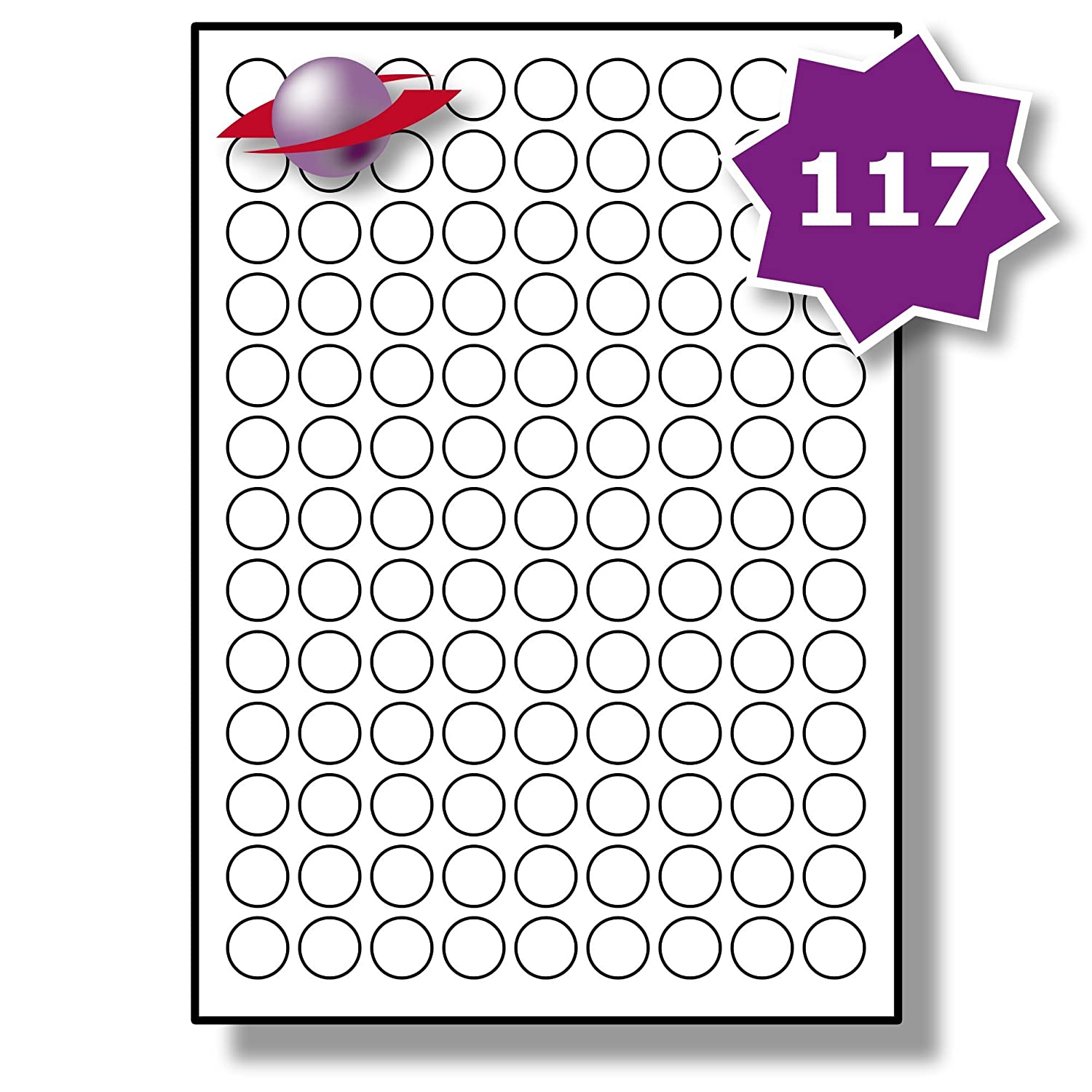 photograph regarding Printable Round Labels identify 117 For each Site/Sheet, 5 Sheets (585 Sticky Spherical Labels), Label Planet® Round White Blank Matt Self-Adhesive Simple A4 Circle Stickers, Printable With