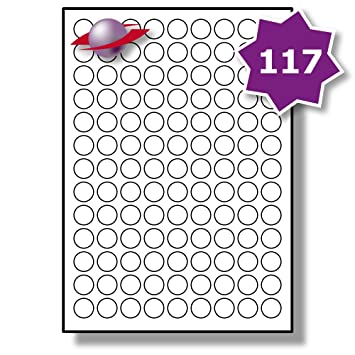 photo relating to Printable Circle Labels known as 117 For each Website page/Sheet, 5 Sheets (585 Sticky Spherical Labels), Label Planet® Round White Blank Matt Self-Adhesive Undeniable A4 Circle Stickers, Printable With