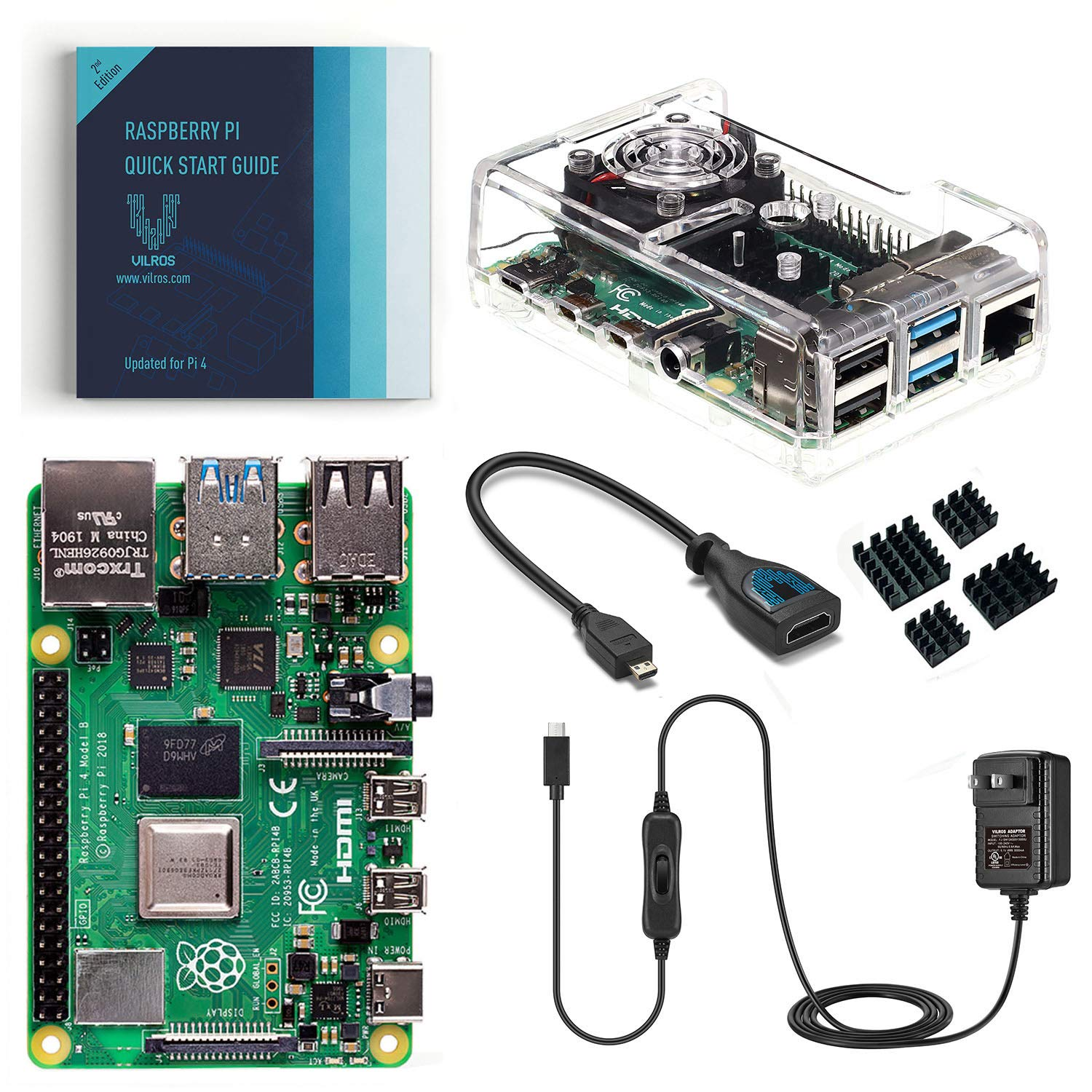 Vilros Raspberry Pi 4 Basic Kit with Fan Cooled Case (4GB) by Vilros