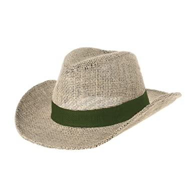 WITHMOONS Western Cowboy Hat Paper Straw Linen Fedora Panama Hat DW8659  (Green) 47f741be5ab