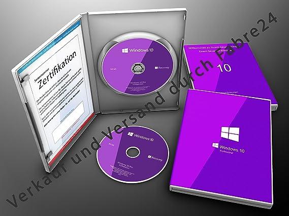 Microsoft® Windows 10 Pro DVD + Produkt Key Lizenz 64Bit Vollversion OEM Deutsch mit Softwareverpackung der Fabre24 Softwarehandel