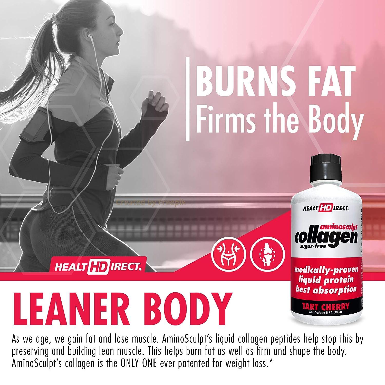 Medical-Grade Liquid Collagen Supplement | AminoSculpt Sugar-Free | Tart Cherry | 30 Fl Oz | Burn...