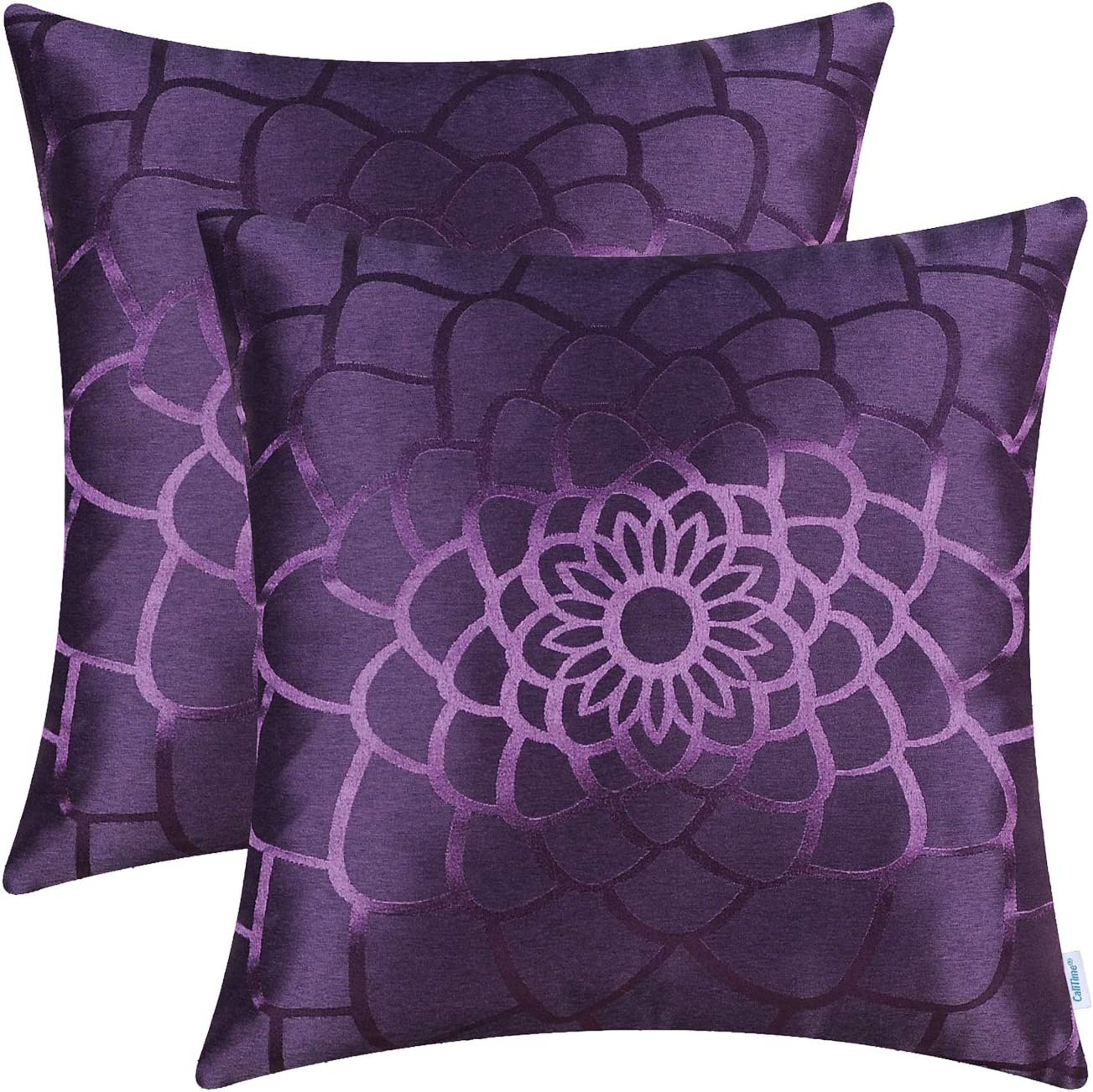 CaliTime Pack of 2 Throw Pillow Covers Cases for Couch Sofa Home Decor Modern Shining & Dull Contrast Dahlia Floral Silhouette Both Sides 18 X 18 Inches Deep Purple