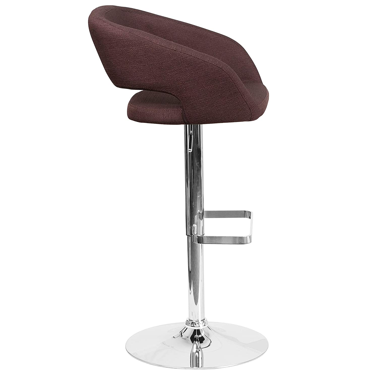 Flash Furniture Contemporary Brown Vinyl Adjustable Height Barstool with Chrome Base CH-122070-BRN-GG