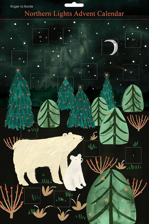 Roger la Borde Northern Lights Polar Bear Mother and Cub Advent Calendar
