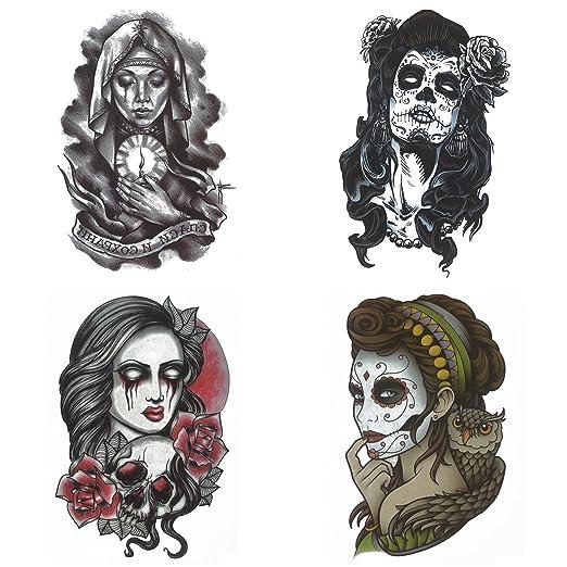COKOHAPPY Grande Mujer Temporales Tatuaje 4 Diferente Búho Rosa ...