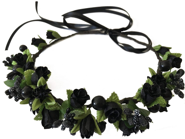 55ebf00a0 Amazon.com: Flower Crown Floral Girls Headband - Black Headpiece Womens  Wedding Bridal - Wreath Artificial Silk Roses Boho: Clothing