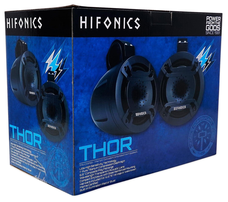 2 Hifonics TPS-CXSP65 6.5 300w LED Tower Horn Speakers+2-Ch Amp 4 RZR//ATV//UTV