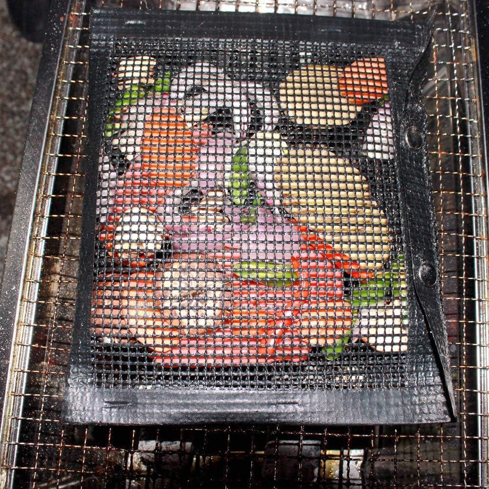 Tapis de Maille de Barbecue antiadhésif réutilisable Tapis de Maille de Barbecue en téflon antiadhésif Tapis de Maille de Barbecue Tapis de Sac de Maille 5PCS Black 33X40CM