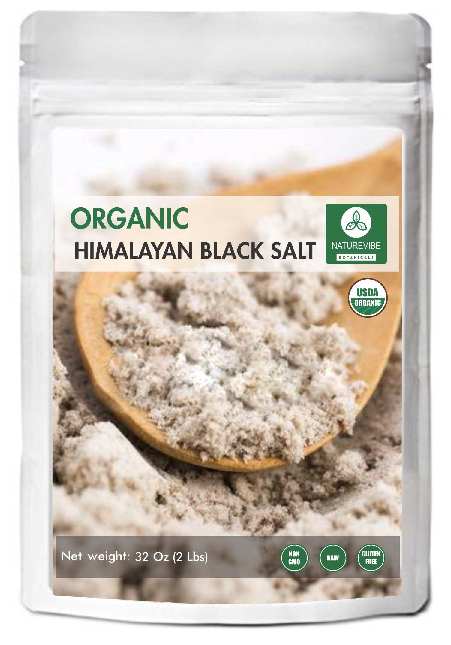 100% Natural & Healthy Himalayan Black Salt (2lb) by Naturevibe Botanicals, Gluten-Free & Non-GMO (32 ounces) (Fine - Cooking Size)