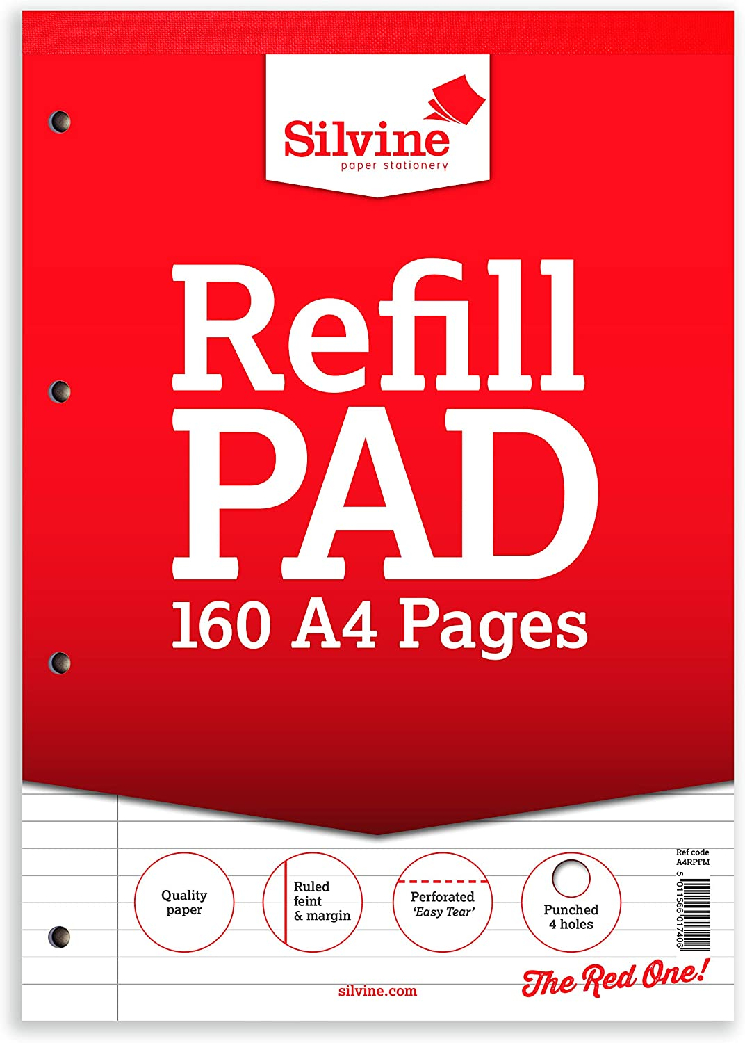 A4 Refill Pad 160 Pages Perforated Easy Tear Punched 4 holes Quality Paper