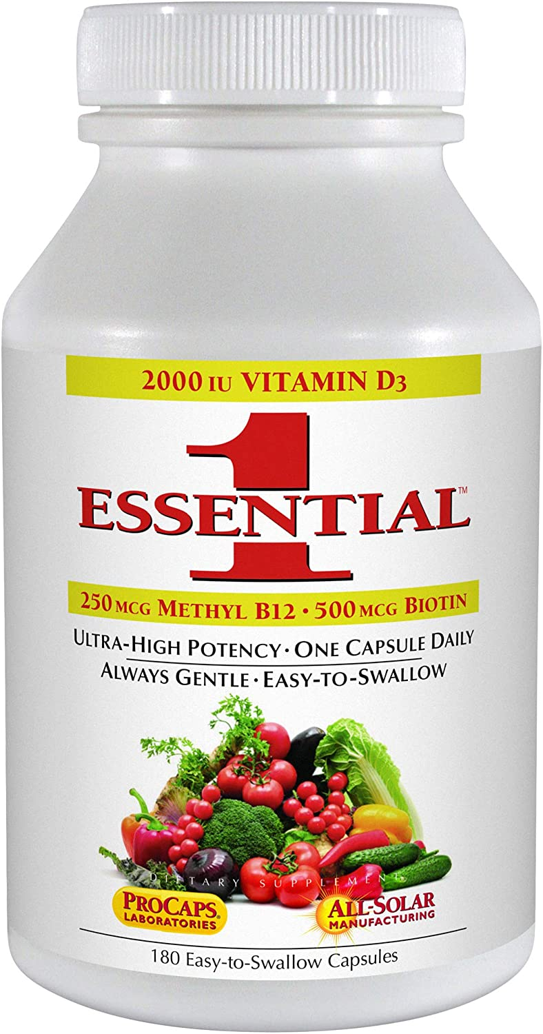 Andrew Lessman Essential-1 Multivitamin 180 Small Capsules 2000 IU Vitamin D3. 250 mcg Methyl B12. Lutein Lycopene Zeaxanthin. 24 Nutrients. High Potency. No Additives. Ultra-Mild Only One Cap Daily