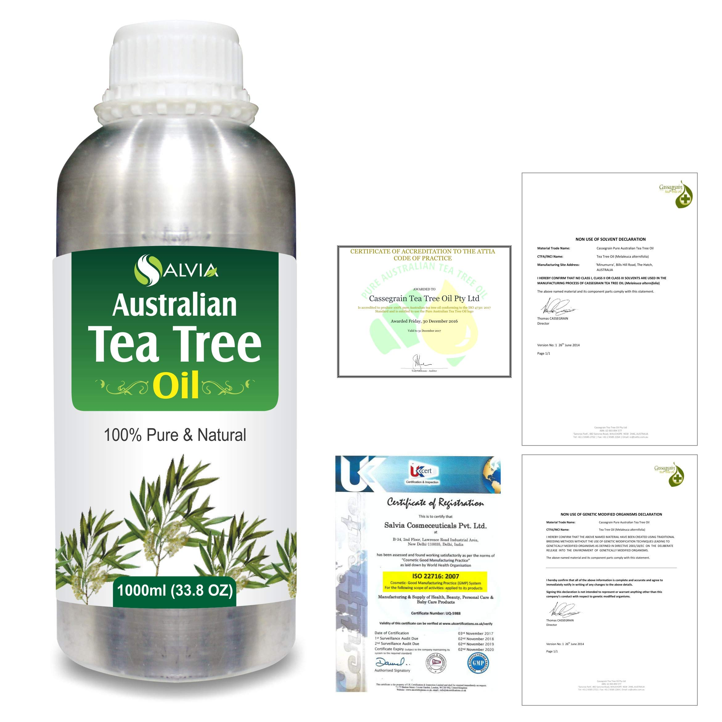 Tea Tree (Melaleuca alternifolia) 100% Pure Australian Certified Non GMO Essential Oil 1000ml/33.8 fl. oz. Express Shipping