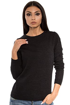 e7d011f89f25 KNITTONS Women's 100% Italian Merino Wool Classic Crew Neck Sweater Long  Sleeve Pullover (Black