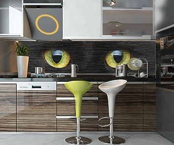 Cocina Pared Trasera Primer Plano de Gato Negro Design M1013 210 x 50 cm (W x ...