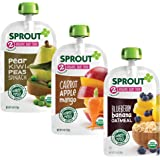 Sprout Organic Baby Food Pouches Stage 2, Carrot Apple Mango, Blueberry Banana Oatmeal, & Pear Kiwi Peas Spinach Variety…