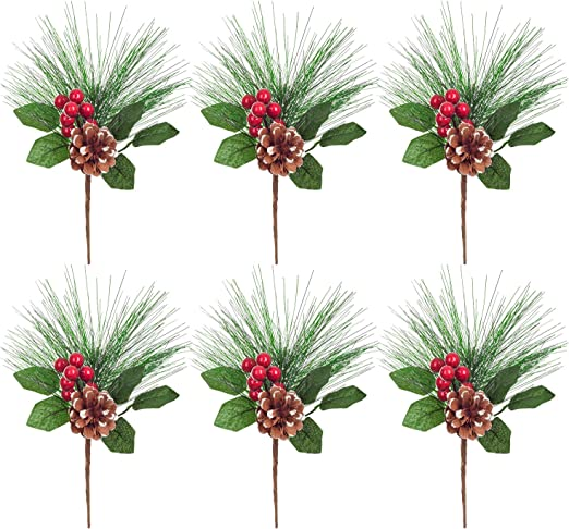 Artificial Pine Branch Cone 10-50x Christmas Berry Holly Flower Pick Decor XMAS