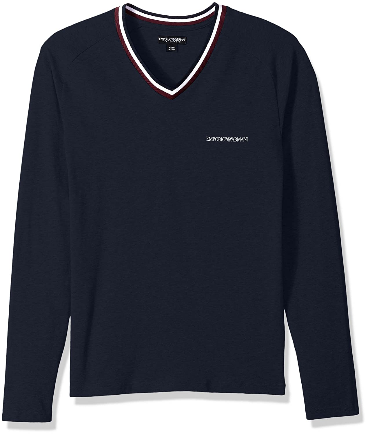Emporio Armani Mens Standard Rugby Player L/S Vneck T-Shirt