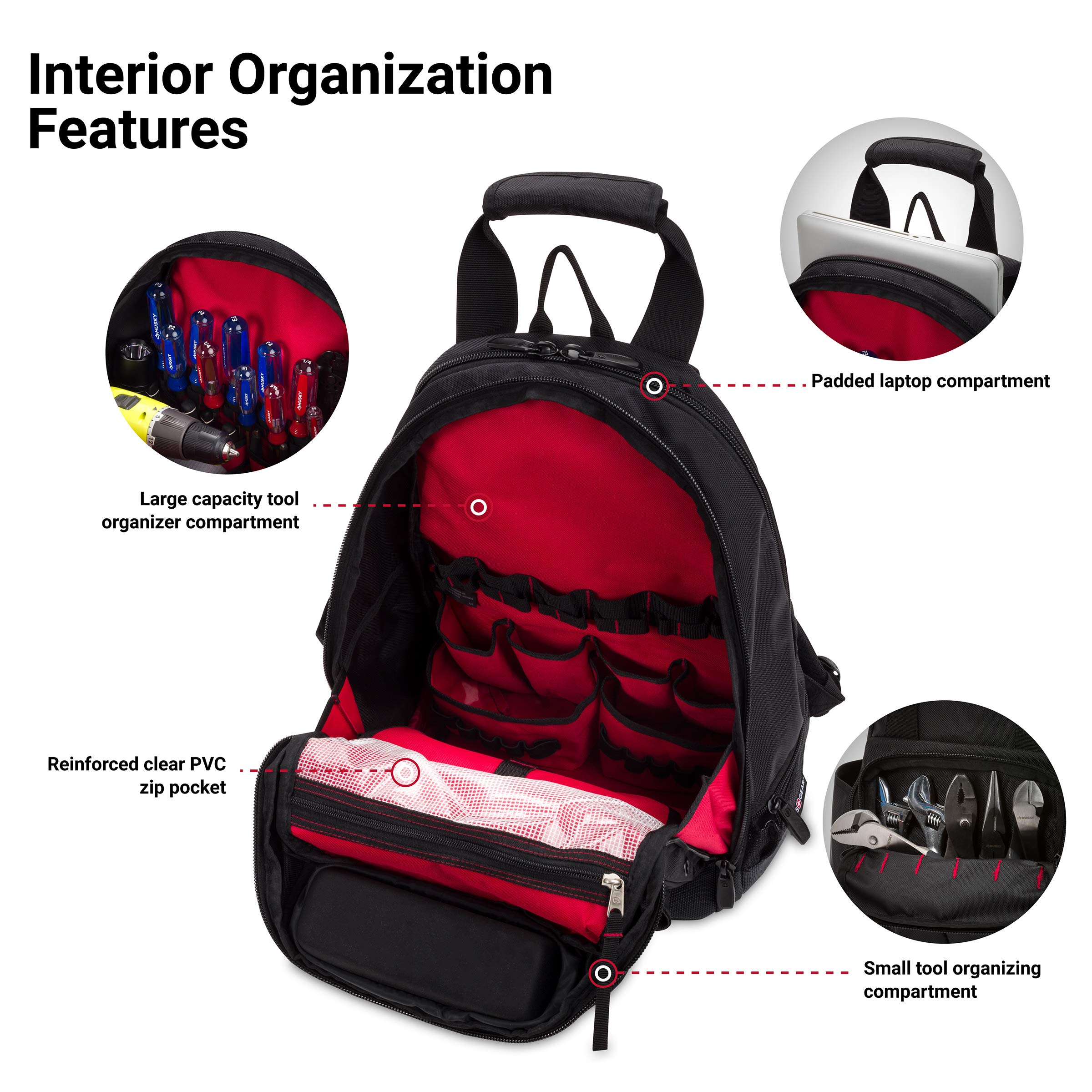 SWISSGEAR 2767 Large Durable Work Pack Tool Backpack With Padded Laptop Compartment | Tool Storage, Part Organization, Wet/Dry Pocket - Black by SwissGear (Image #4)
