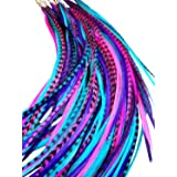 Feather Hair Extensions, 100% Real Rooster Feathers, Long Pink, Purple, Blue Colors, 20 Feathers with Bonus FREE Beads and Lo