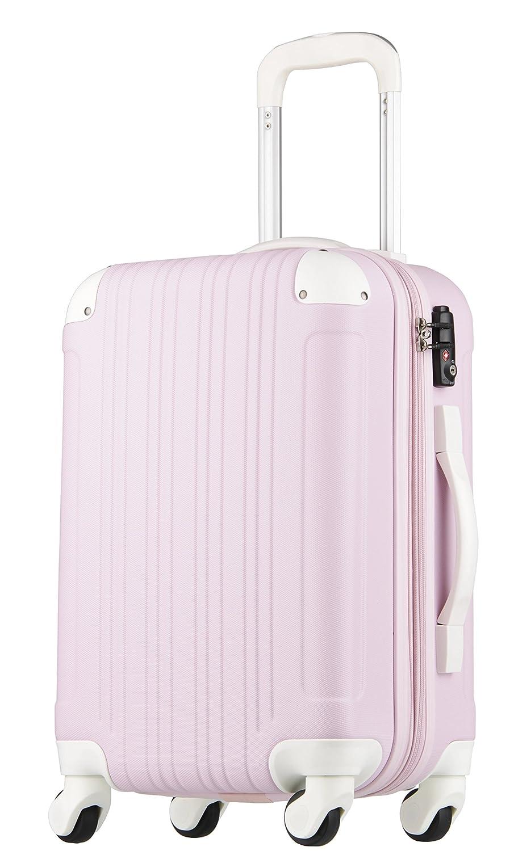 【レジェンドウォーカー】LEGEND WALKER スーツケース 容量拡張 TSAロック 超軽量 マット加工 ファスナー開閉 5082 B0751CLK3G Sサイズ(3~5泊/47(拡張時56)L)|ピンク/ホワイト ピンク/ホワイト Sサイズ(3~5泊/47(拡張時56)L)