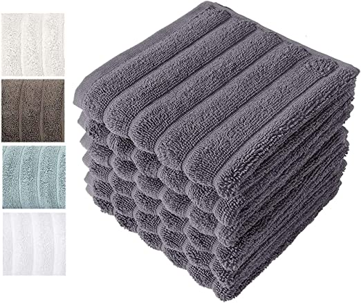 Classic Bath Towels Turkish Combed Cotton Large Hand 20x32 Gray Color Rib Style
