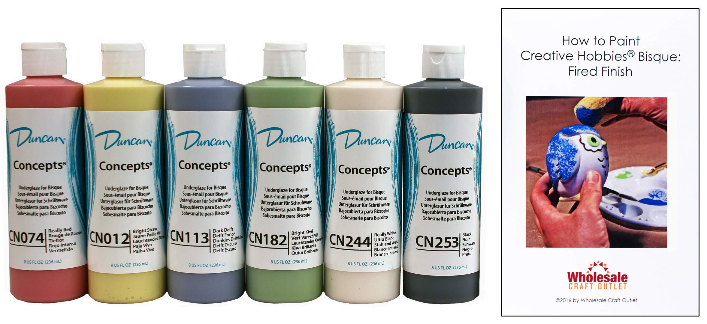 Duncan CNKIT-9.8 Concepts Underglaze Primary Colors Paint Set, 6 Best Selling Colors in 8 Ounce Bottles with Free How To Paint Ceramics Book