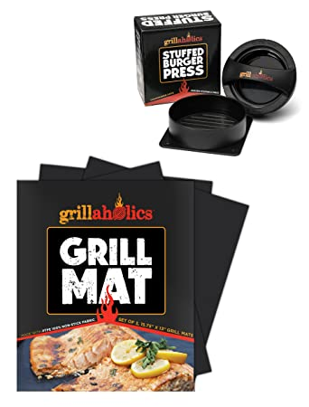 Grillaholics Grill Mat and Stuffed Burger Press Bundle – Includes Set of 2 Non Stick BBQ Grilling Mats and Hamburger Patty Maker for Grilling – Great BBQ Grill Gift