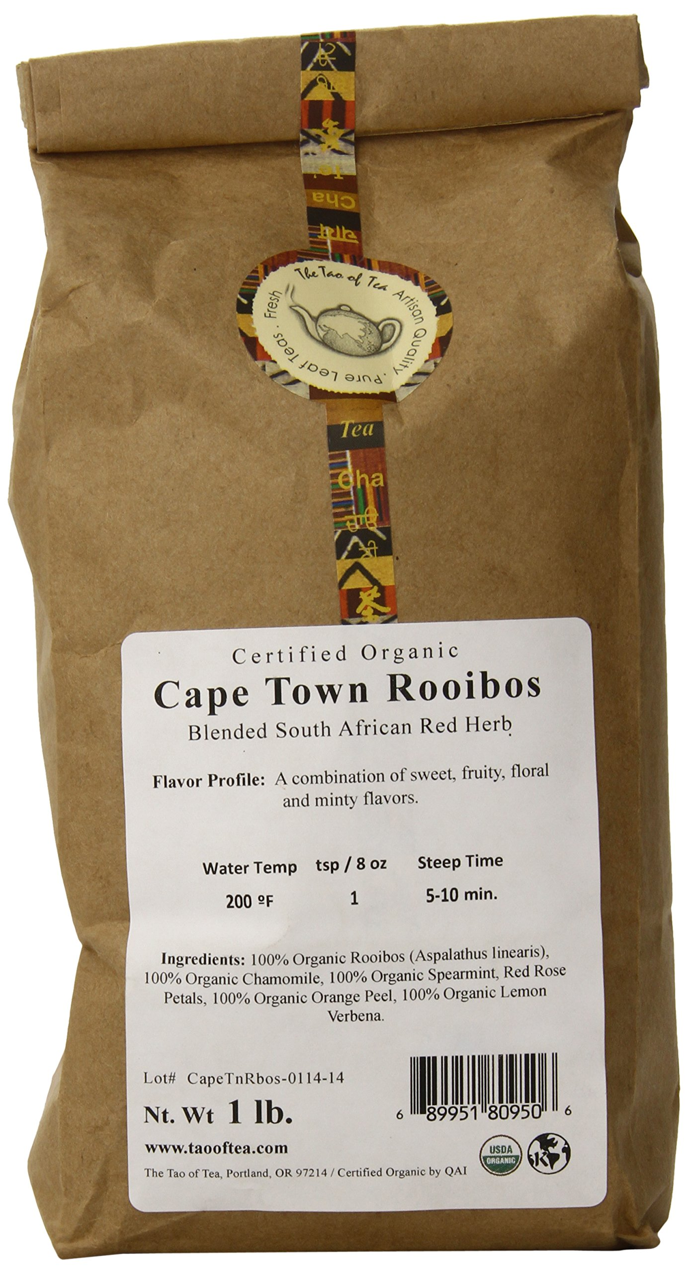 The Tao of Tea Cape Town Rooibos, Certified Organic Blended African Red Herb, 1-Pound