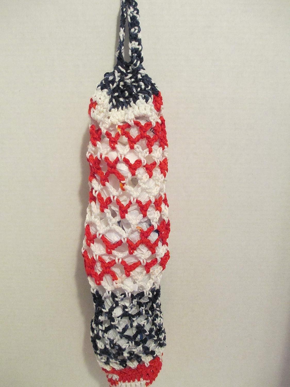 Americana Crocheted Plastic Grocery Bag Holder