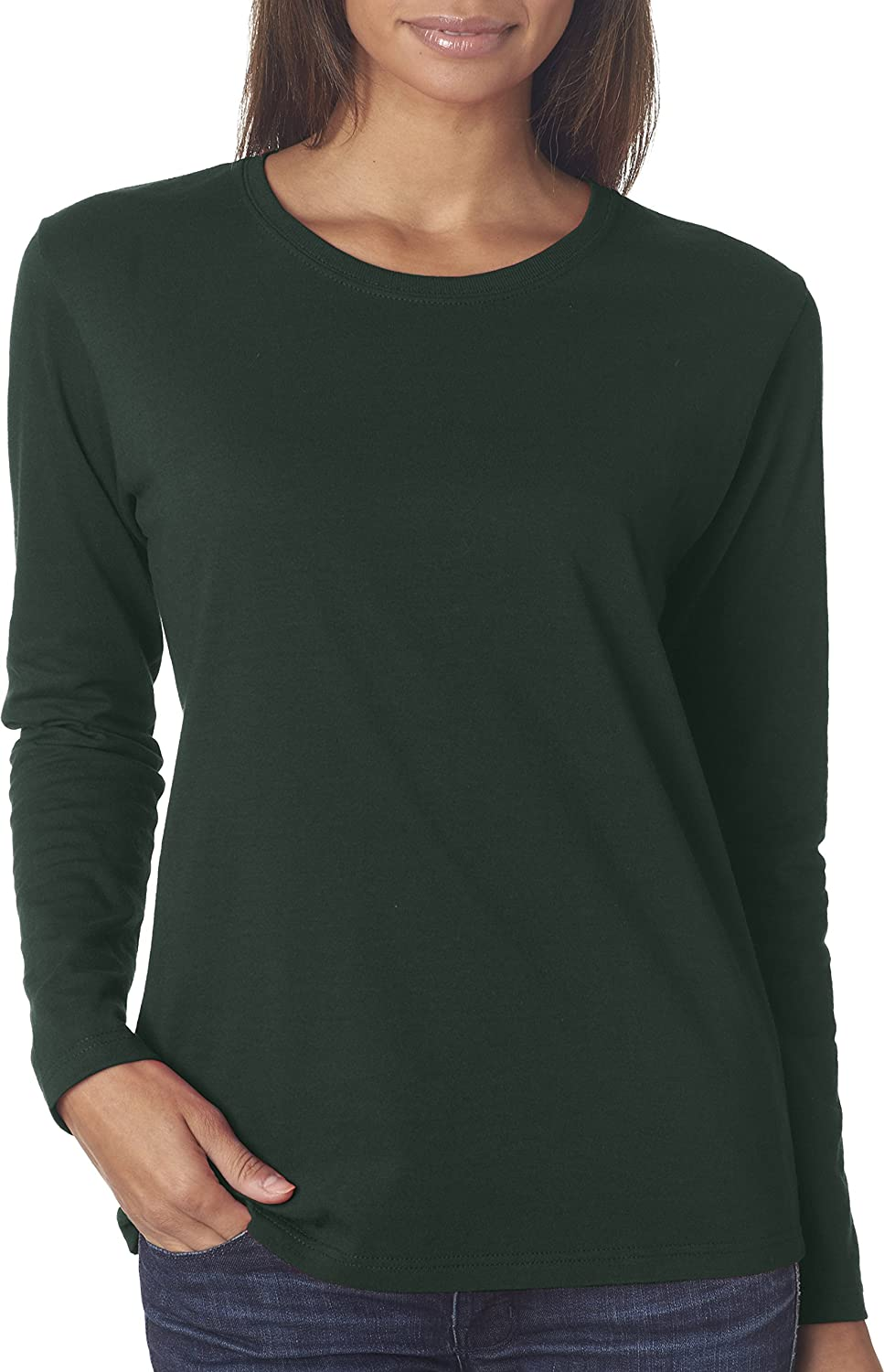 Amazon.com: 5400L Gildan Missy Fit Heavy Cotton Fit Long-Sleeve T ...