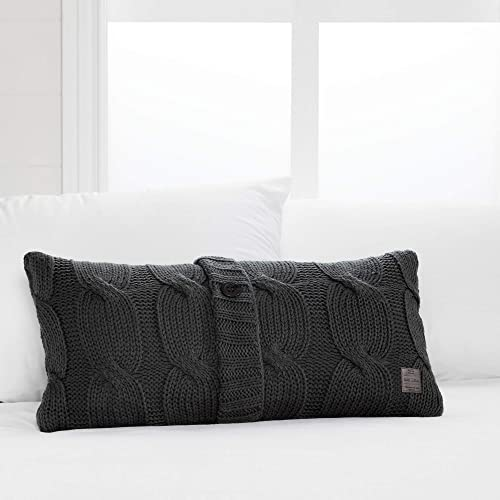 South Shore Lodge Cable Knit Throw Pillow with Decorative Button 12 L x 24 W, Dark Grey