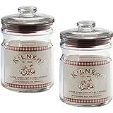 Set Of 2 1 Litre Kilner Vintage Air Tight Push Top Seal Glass Herb Preserving Storage Cannisters Caddy Jars