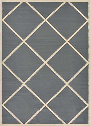 SoHome Conur Collection Trellis Area Rug Rugs Geometric Modern Contemporary Area Rug Rugs Lattice Design 2 Color Options Grey