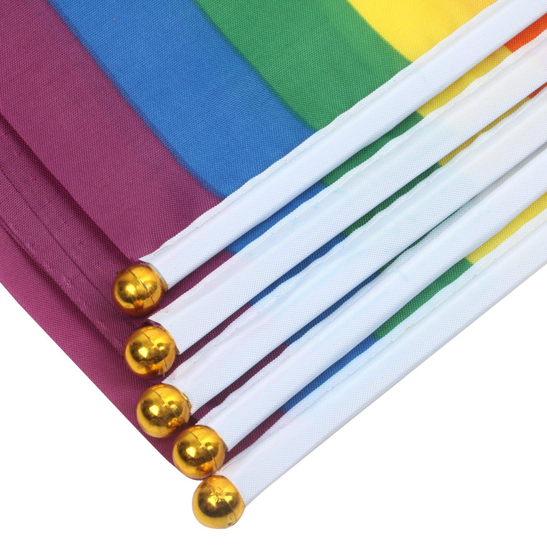 Trixes 15 St/ück F/ähnchen Ideal f/ür LGBT-Veranstaltungen und Paraden Polyester Fahnen 21cm x 14 cm