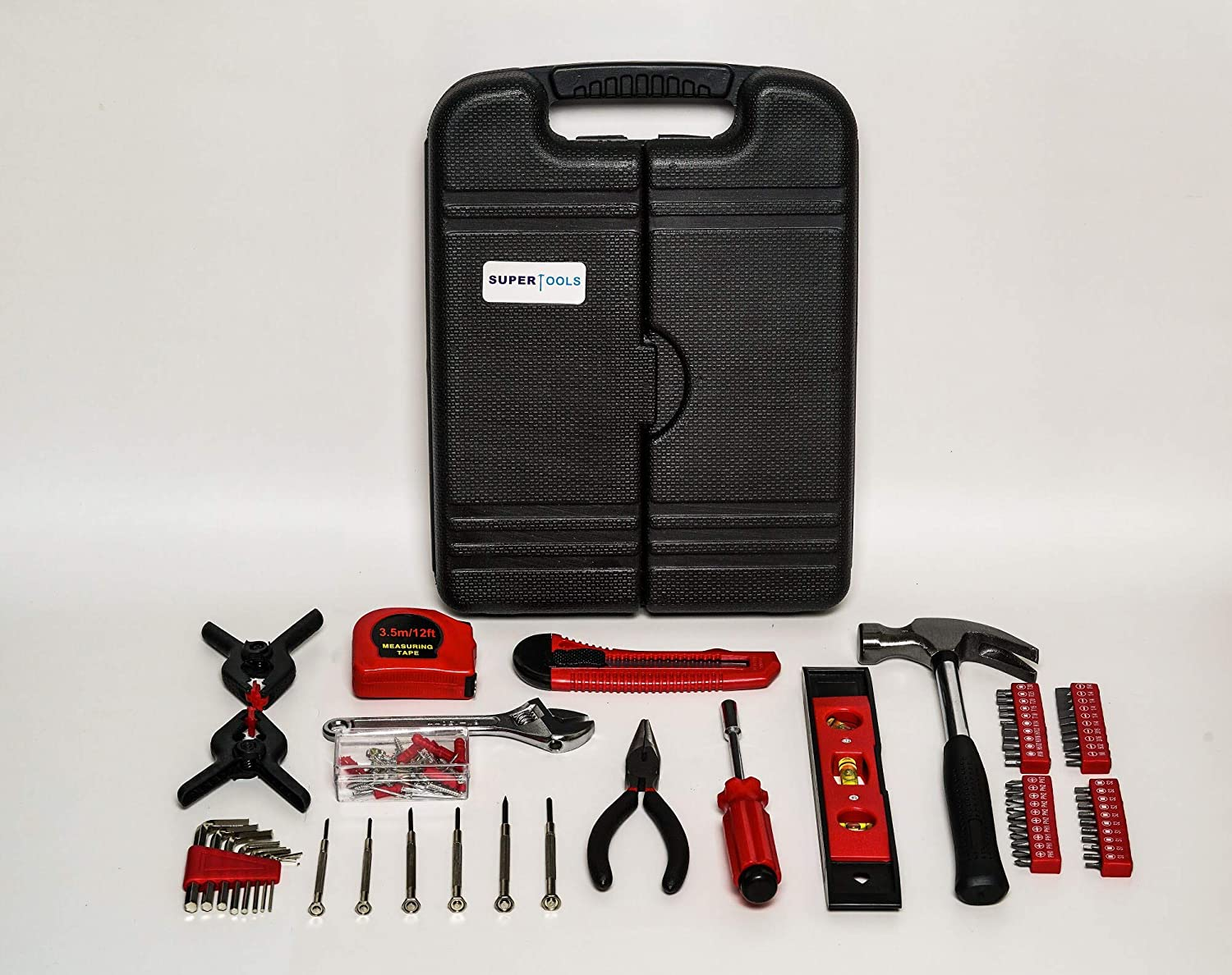 Super Tools 148-Piece Household Tool Set General Household Hand Tool Kit with Plastic Toolbox Storage Case